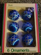 Vintage Grants Unbreakable Set If 6 Blue And Silver Christmas Ornaments