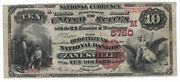 U.s. Zanesville Oh - Series 1882 10.00 National Currency Banknote