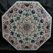 36 Marble Dining Table Top Inlay Rare Stones Octagon Center Coffee Table Ar1049