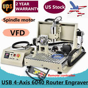 Usb 1.5kw Vfd 4axis Cnc 6040 Router Engraver Machine Drill +remote Controller