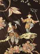 Stroheim Romann Chinoiserie Cathay Pastoral Polished Cotton Fabric 4.66 Yd Brown