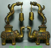 24 Old China Dynasty Bronze Ware Gold Painting Dragon Elephant Zhong Bell Pair