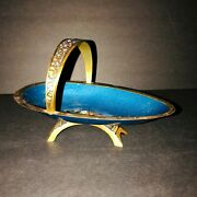 Brass And Blue Enamel Dish Footed W/handle Israel Hakuli Vtg 1950and039s