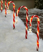 Set Of 8 Solar Candy Cane Yard Stakes Outdoor Christmas Holiday Pathway Decor