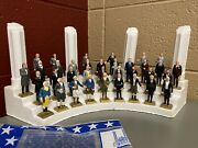 Vintage Marx Toys Miniature President Statues 1-36 35 Figures W/ Stand And Bag
