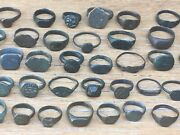 Mixed Lot Of 53 Ancient Bronze And Other Metal Rings Antique Old Jewelry Vintage