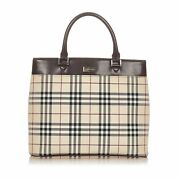 Pre-loved Brown Beige Canvas Fabric House Check Tote Bag United Kingdom