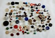 Antique Fancy Glass Buttons Mixed Large Lot Faceted Luster Star Victorian