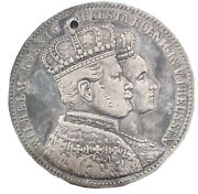1861 A Prussia German State Coronation King Wilhelm I Silver Thaler Toning