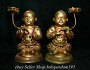 9 Chinese Copper Gilt Inlay Gems Dynasty Tongzi Lotus Candle Stick Statue Pair