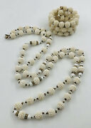 Rare Miriam Haskell White Diso Ball And Rhinestone Bracelet And Necklace 52 Set