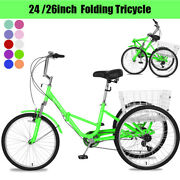 Folding Tricycle Bike 3 Wheel Bicycle 24/26inch 7speed Bikes With Cargo Basket