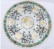 24and039and039 Marble Table Top Center Coffee Home Decor Inlay Pietra Dura Antique A33