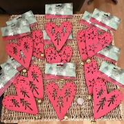 Lot Of 11 Primitive Red Heart Christmas Ornaments Tin Metal Bell Valentine Day