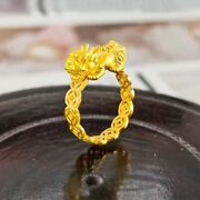 Pure 999 24k Yellow Gold Band Men Women Lucky 3d Coin Pixiu 貔貅 Ring Us Size 5.5