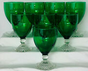 8 Anchor Hocking Bubble Green 5 1/2- 9 Oz Water Goblets