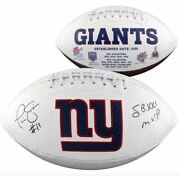 Phil Simms New York Giants Signed White Panel Football With Sb Xxi Mvp