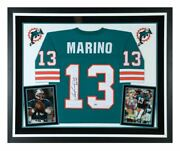 Dan Marino Miami Dolphins Signed Mitchell And Ness Teal Replica Jersey Framed Hof