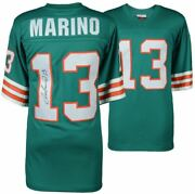 Dan Marino Miami Dolphins Signed Mitchell And Ness Teal Replica Jersey