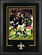 Drew Brees New Orleans Saints Signed 16 X 20 Black Jersey Photo Deluxe Framed