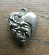 Vintage Art Deco Sterling Silver Puffy Heart Charm Unusual Design