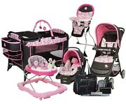 Baby Girl Walk Combo Stroller Travel System And Car Seat Playard Walker Chair Bag