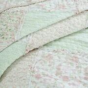 Shabby Chic Romantic Cottage Pink Green Lace Lavender Lilac Ruffle Quilt Set