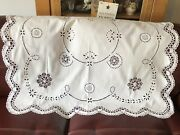 Vintage Tablecloth Broderie Anglais And Intricate Hand Crochet Cut Outs And Border
