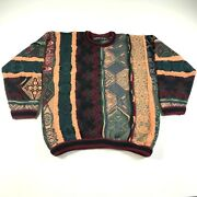 Vintage Coogi Cashmere Sweater Mens Orange Red Green Striped Nordic Christmas