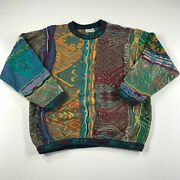 Vintage Coogi Sweater Mens L Red Yellow Striped Aztec Fair Isle Christmas Cotton