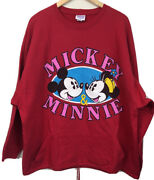 Vintage Disney Store Mickey And Minnie Sweatshirt One Size Graphic Front Love