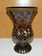 Partylite Global Fusion Mosaic Hurricane Candle Holder Stained Glass Tiles