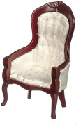 Dolls House Victorian White And Mahogany Gents Chair Living Room Furniture 112