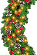 9 Foot By 10 Inch Christmas Garland -100 Led Lights Battery Operated Lighted Ga