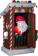 Gemmy Animated Christmas Airblown Inflatable Santaand039s Outhouse 6 Ft Tall Brown