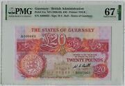 Pmg 67 Guernsey British Administration Britain Uk 1980-1989 Banknote 20 Pounds