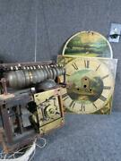 Rare Antique English 16 Or 17 Bell And Music Roll Grandfather Clock Movement Andface