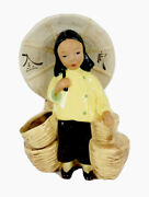 Mccarty Brothers California Pottery Vintage Asian Girl Parasol Figural Planter