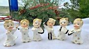 Adorable Playing Musical Instruments Figurines Japan 6 Vintage Christmas Ceramic