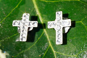 14k White Gold And Cubic Zirconia Tiny Cross Stud Earrings From Fred Meyer Jeweler
