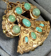 Huge 18k Yellow Gold Blue Green Turquoise Cabochon Rotary Phone Retro Pendant