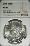 1883 Cc Morgan Dollar Ms 65 - Clean Surfaces - Bright White Very Attractive Coin