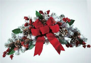 Lighted Frosted Pine Christmas Floral Swag Holiday Wreath Wall Door Spray 25l