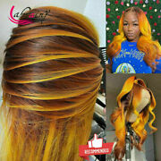 Ombre Orange Lace Frontal Human Hair Wigs Pre Plucked Body Wave Highlight Wig Hd