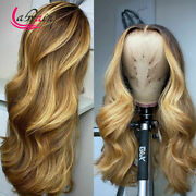 Hd Lace Frontal Human Hair Wig Body Wave Highlight Honey Blonde Full Pre Plucked