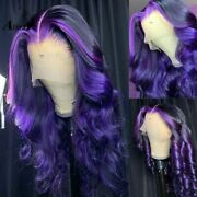 Ombre Purple Body Wave Lace Front Human Hair Wigs Hd Transparent Full Glueless