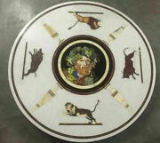 42 Marble Dining Table Top Inlay Rare Stones Round Center Coffee Table Ar1248