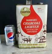 Vintage Charcoal Lighter Fluid Can Champion Bbq Barbeque Grill Empty One Gallon