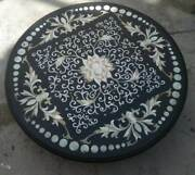 24and039and039 Black Marble Coffee Corner Table Top Inlay Mosaic Round Antique Handmade