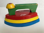 Vintage 1950's Sifo Wooden Play Iron Stacking Puzzle Toy Hard To Find Good Cond